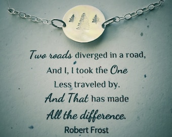 """Hand stamped """"I took the road less traveled..."""" Evergreen Sterling Silver or Copper Pendent Necklace"""
