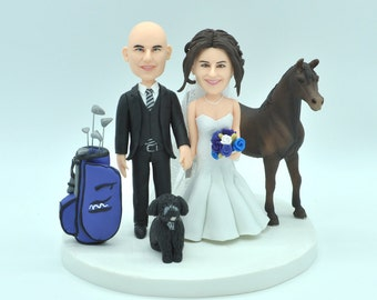 Custom wedding cake topper, Bride and groom golf cake topper, personalized cake topper, Mr and Mrs cake topper, custom Horse cake topper