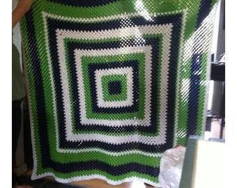 Seahawks granny square blanket