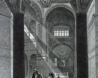 ca. 1870 - Church SAN VITALE RAVENNA Italy - S. Voegelin - Antique Engraving Print Monument Architecture. 145 years old.