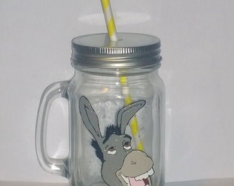Hand painted donkey (from shrek) drinking jar.