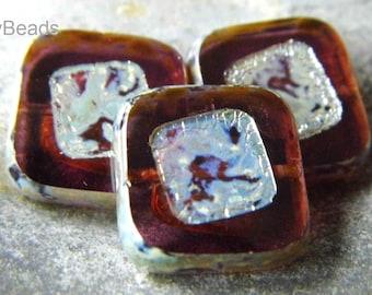 Rustic Mauve Czech Beads, Square Beads, Firepolished Beads, cgb33335