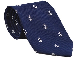 SummerTies Anchor Necktie - Navy, Woven Silk, Standard Length