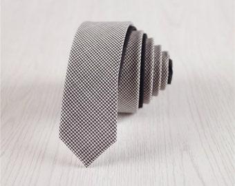 wool accessories.houndstooth wool tie for men.gray skinny ties.grey ties for adults.groomsmen necktie for groom.wedding accessories+nt.85s