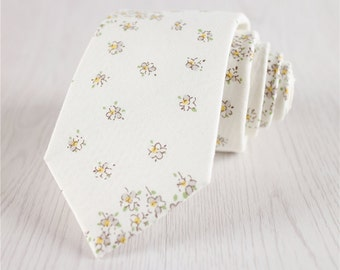 white floral ties.floral printed ties.vintage floral ties for groomsmen.wedding neckties.bridal party neckties.handmade cotton necktie+nt147