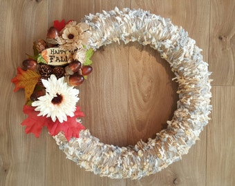 Happy Fall Yarn Wreath