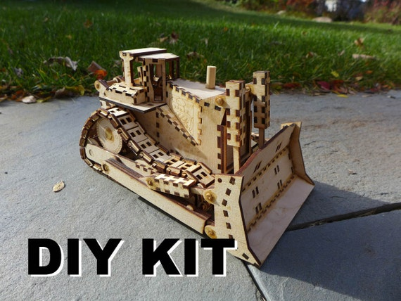 laser cut wood bulldozer toy kit build it yourself. Black Bedroom Furniture Sets. Home Design Ideas