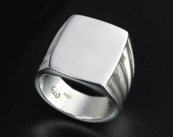 Sterling Silver Vintage Style rectangle ring-Mens Square signet ring-Big Signet ring-Vintage silver ring-Vintage signet ring-Classic Ring