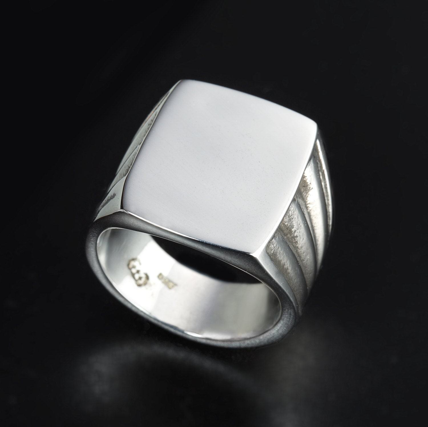 Sterling Silver Vintage Style rectangle ring Mens Square