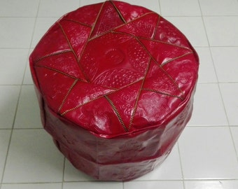 Big Pouf, red pouf , leather pouf, leather pouf, Moroccan pouf,