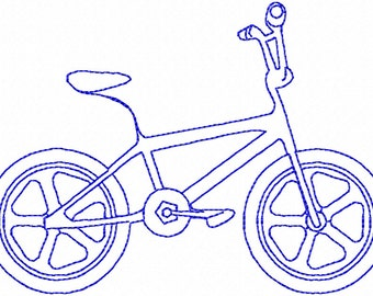 BMX Bike Redwork Machine Embroidery Design