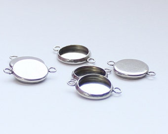 10pcs--Stainless Steel Connector Cabochon Setting, Flat Round, two loops (B45-9)