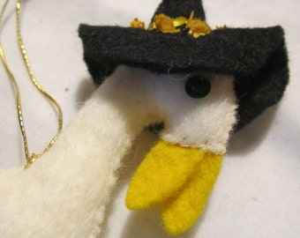 Felt and Sequin Mother Goose Nursery Rhyme Christmas Tree Ornament - Vintage and Hand Made