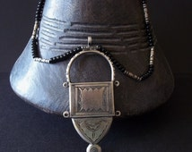 Large TALISMAN Tuareg tribe - Amulet necklace. Touareg Tribal protection. Ethnic jewelry schmuck . Nomads, Bedouin Tribal, Berber jewelry