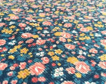 Vintage 70s corduroy fabric 50x80cm: Mille Fleur, ditzy / cord colorful corduroy fabric