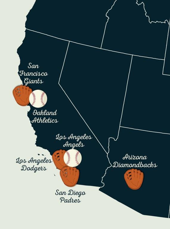 Baseball Stadium Map Major League Ball Parks Map U S Map United States Map Map Art Baseball Decor Baseball Wall Art