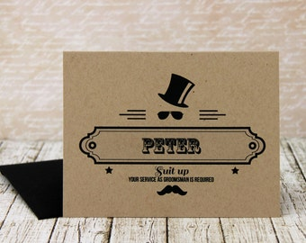 Hipster Groomsman Invitation - Groomsman Invitation - Will You Be My Groomsman - Groomsman Proposal - Groomsman Card - Groomsmen Gift