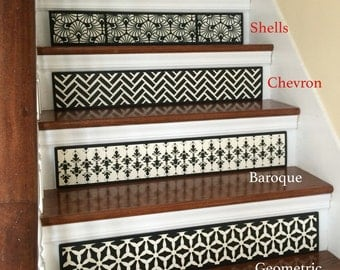 SALE 25% OFF / SET of 3 Hand Painted Wood Stair Riser / Alternative to Vinyl Decals, Stair Stickers and Stair Decals / Chevron / Item 003