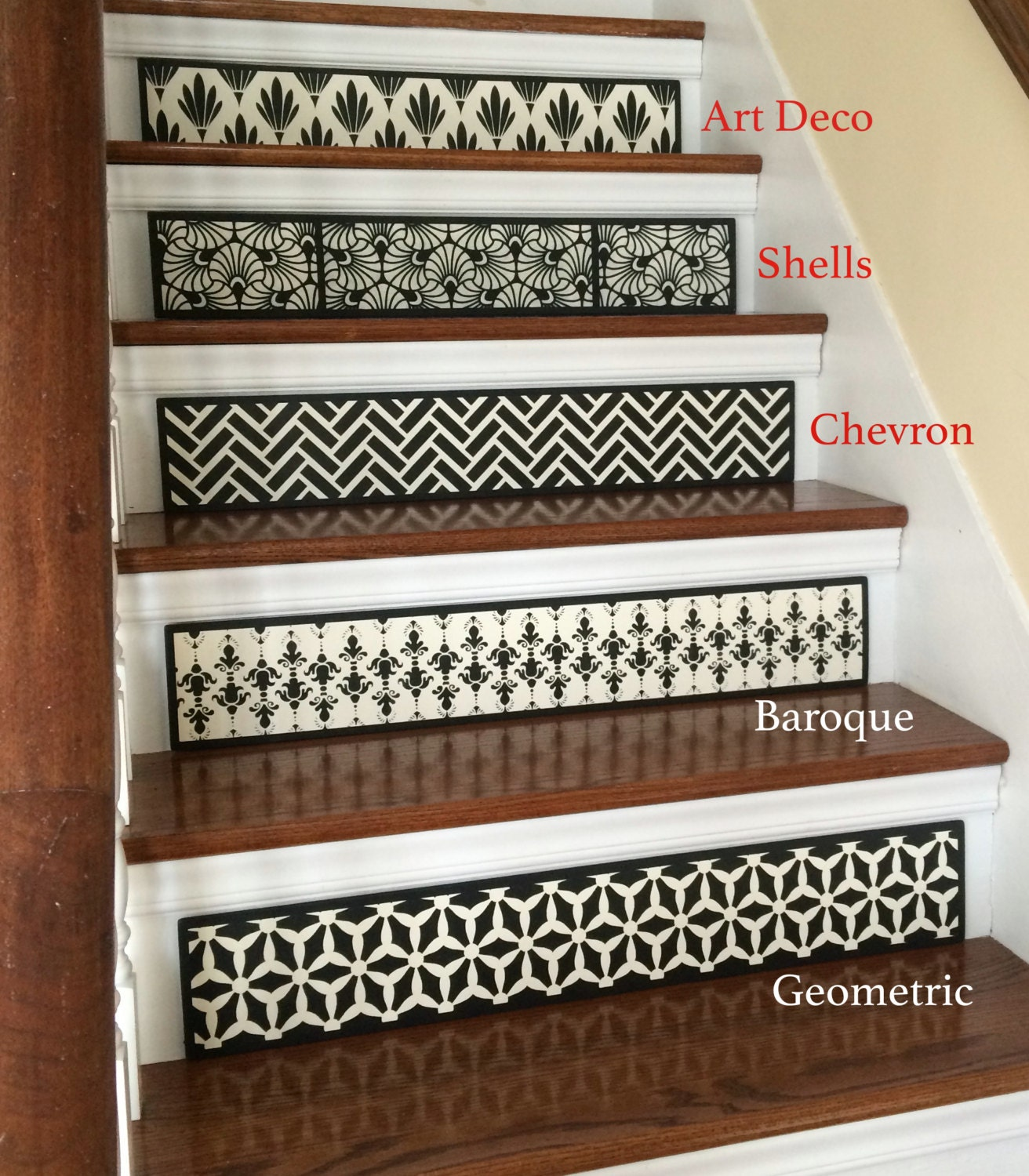 sale 25 off set of 3 hand painted wood stair riser. Black Bedroom Furniture Sets. Home Design Ideas