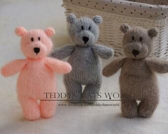 Knitted Teddy Bear, Stuffed Animal, Newborn Stuff Bear, Newborn Photo Prop, Little Hand Knit Teddy Bear, Snuggle Teddy, Stuffed Teddy,