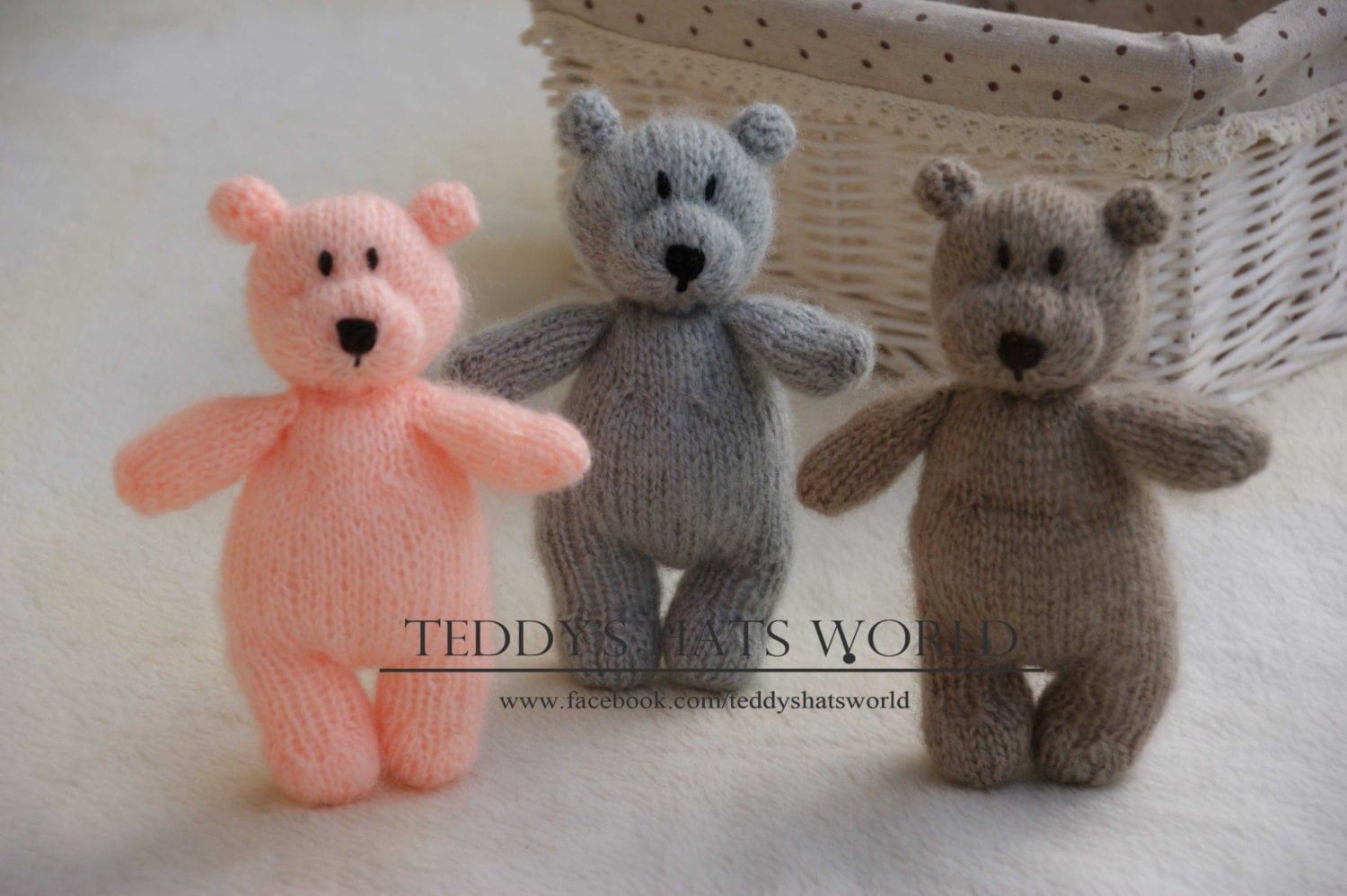 Knitted Teddy Bear Stuffed Animal Newborn Stuff Bear
