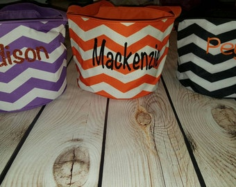 SALE-Personalized Halloween Buckets with Handles, Halloween Totes, Orange, Black and Purple Glitter Personalized Halloween Bags, Chevron