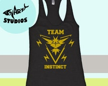 Pokemon Go - Team Instinct Tank. Womens Tank Top. Workout Burnout Tank.