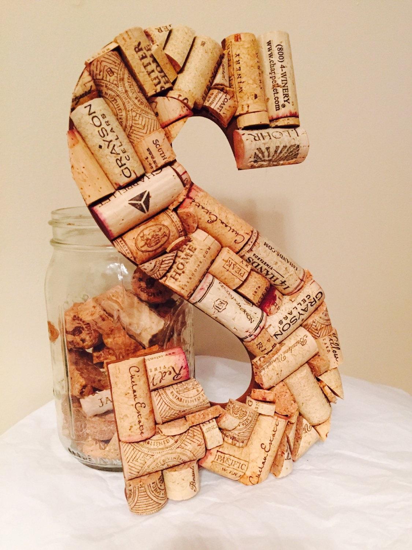 Wine cork letter s wine cork craft wedding shower giftwine for Wine cork crafts for weddings
