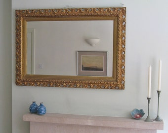 Large Modern c1980s Gilt-Framed Wall Mirror
