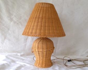 Vintage Wicker Table Lamp, Ginger Jar Shape