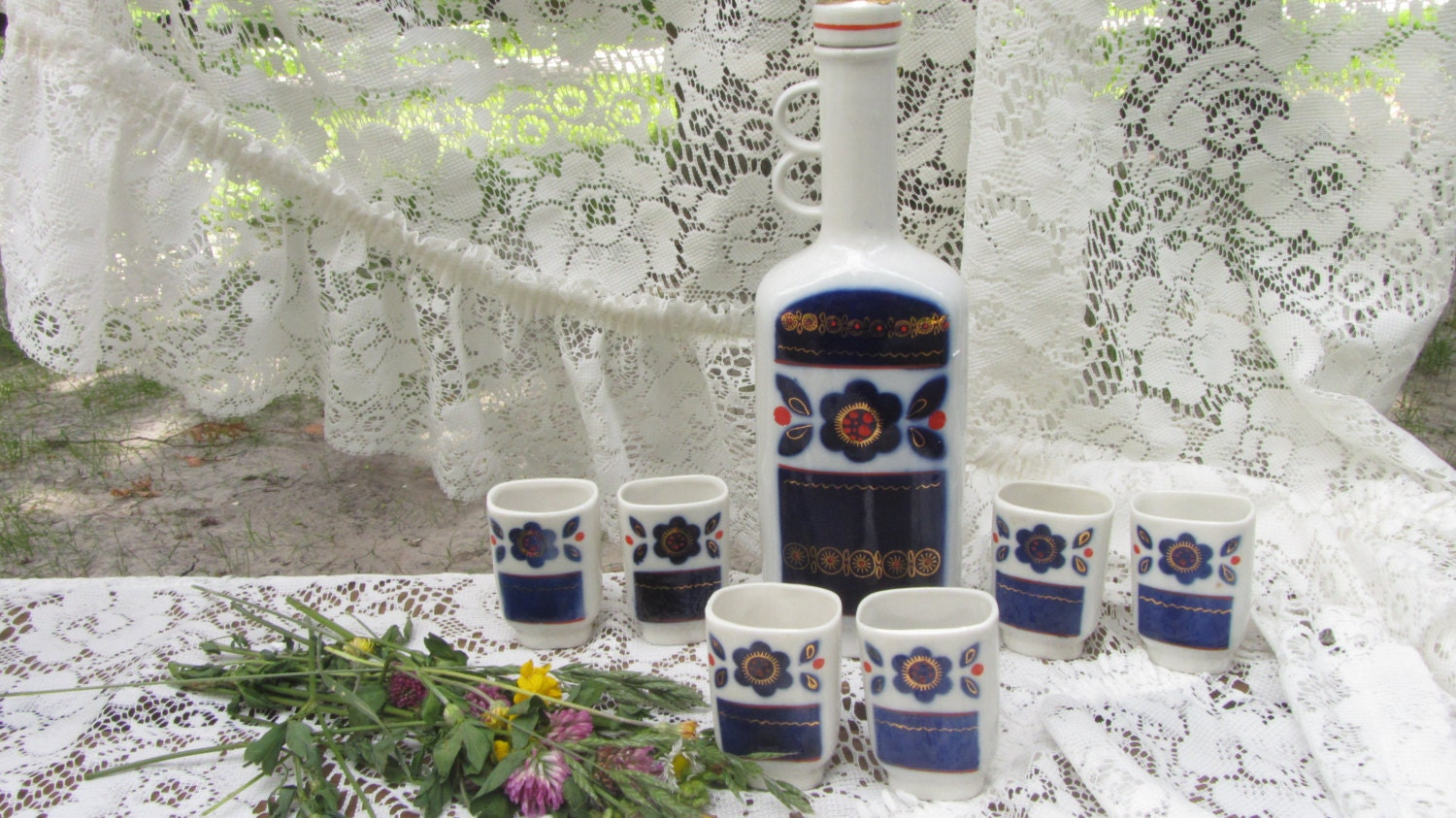 Ceramic Shot Glasses with bottle, Set of six Shot Glasses with bottle, Small Cup
