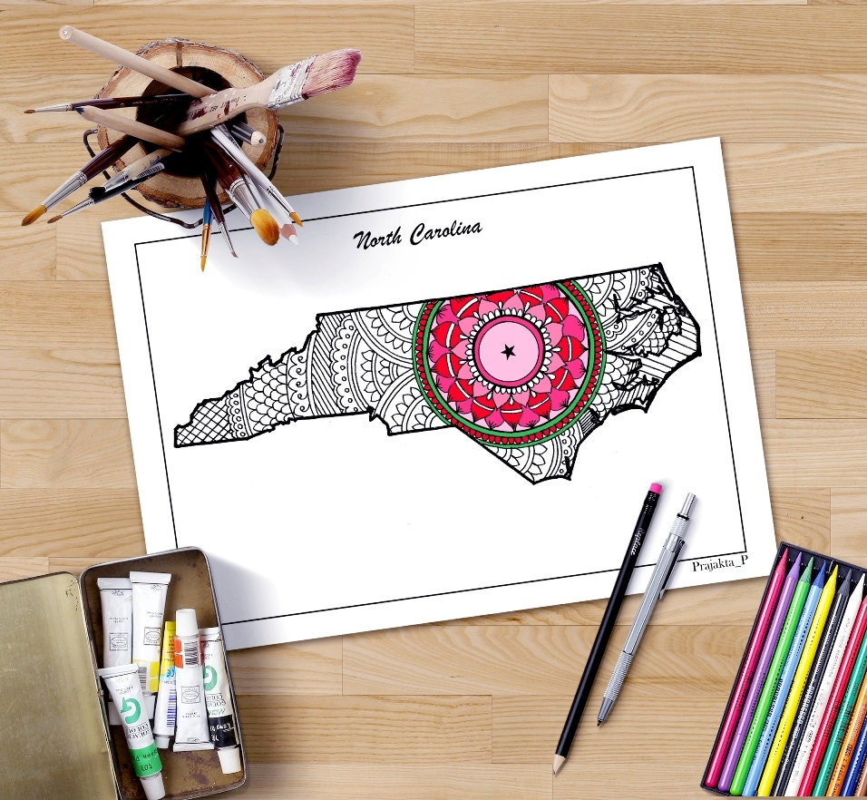 north carolina state map decorative maps usa coloring