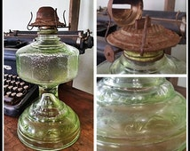 Vintage Green Tall Glass Kerosene or Oil Lamp. Vintage lighting, kerosene lamp, oil lamp, hurricane lamp, lamp base, antique kerosene lamp