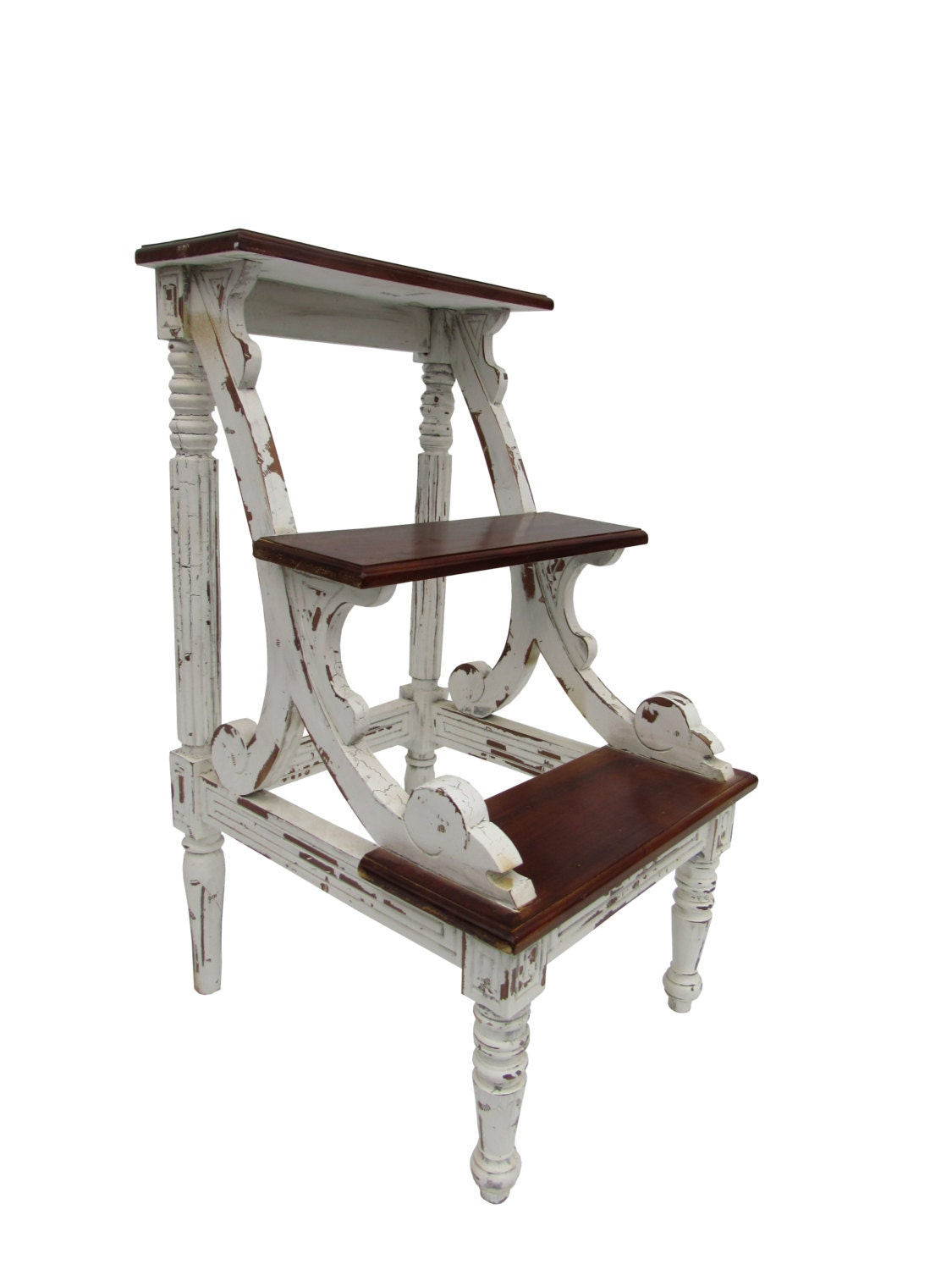 Bed Step Stool: RESERVED For Irene Shabby Chic Bed Library Stairs Step Stool