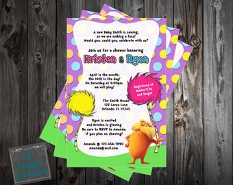 Dr Seuss - The Lorax - Baby Shower Invitation Printable