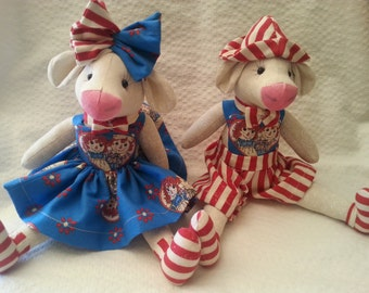 Hand made cloth dolls Gracie & Grandie Baby cows #9-10. Raggady-Ann and Andy