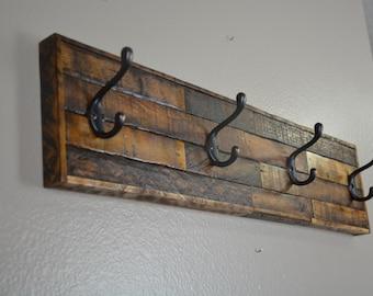Rustic Coat Rack, Barnwood, Entryway, Towel Hooks, Hooks, Tobacco Lath, Distressed Wood, Country, Primitive