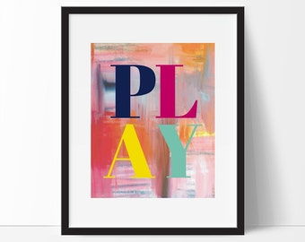 Playroom Print, Playroom Wall Art, Playroom Printable, Watercolour Print, Nursery Decor, Playroom Rules, Instant Download