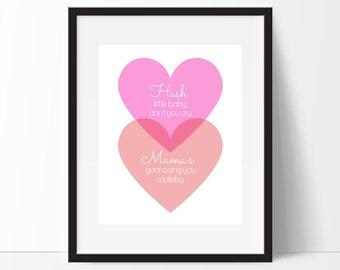 Hush Little Baby, Girls Nursery Wall Art, Heart Print, Nursery Decor, Nursery Wall Art , Heart Printable, Instant Download