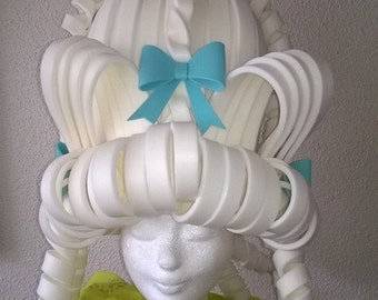 White Marie Antoinette Foam wig with light blue details/foam wig/cosplay/rococco