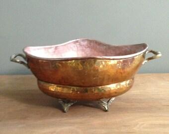 Vintage brass hammered planter