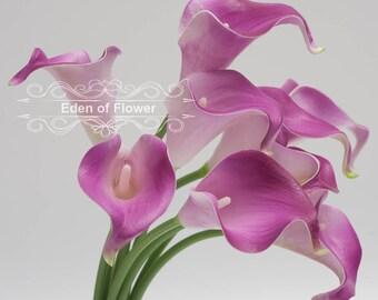 Real Touch Purple Calla Lilies for Wedding Centerpieces Bridal Bouquet Home Decoration Vase Arrangement