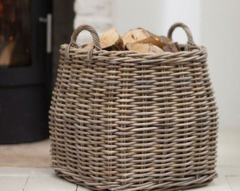 Country Home Rattan Tapered Basket, Complete with Sturdy Handles - Ideal Toy Storage, Laundry Basket or Fireside Log Basket