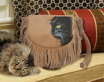 Hand Painted Fine Grain Leather Purse - Ivette Chat Noir Beige Fringes Messenger Bag by Lyria.ro
