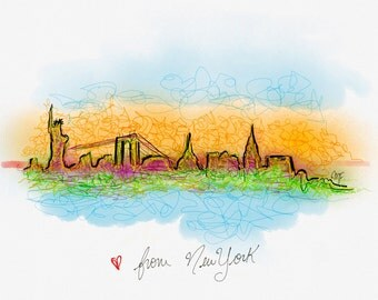 New York City Skyline Postcard Art Digital Painting