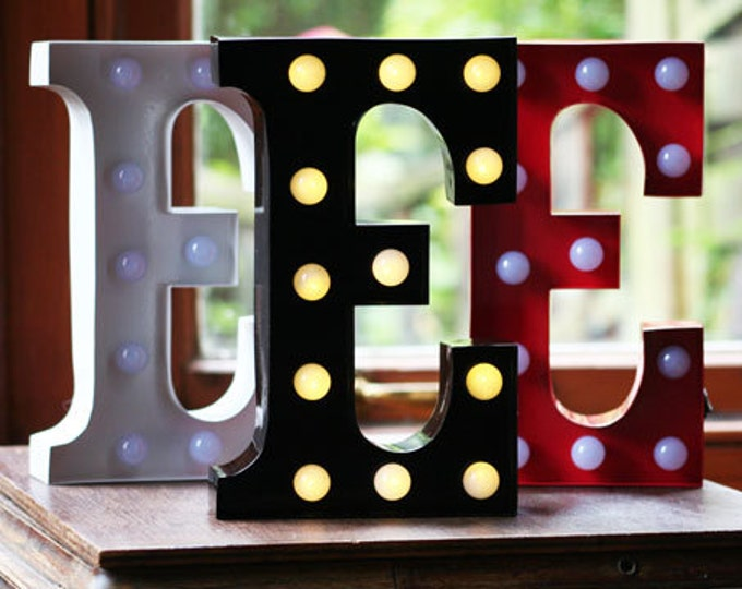 Vintage Metal Fairground Marquee Light up Letter E Light - Various Colours/Battery Operated - Perfect Night Light/Gift/Bedroom/Wedding Decor