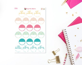 Circle Planner Stickers, Erin Condren Life Planner Stickers. Hot Air Balloon Ride006