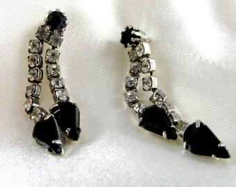 Vintage Black & Clear Rhinestone Teardrop Pierced Earrings