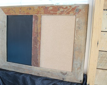 Reclaimed Frame Chalkboard and Corkboard