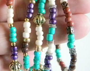 Multi Colored Glass Seed Beaded Stretchy Bracelets - Teal Brown Cream Purple Rust